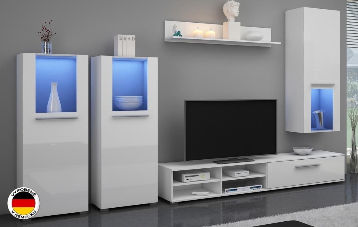 WIP WÜRZBURG obývacia stena - biely mat / biely vysoký lesk