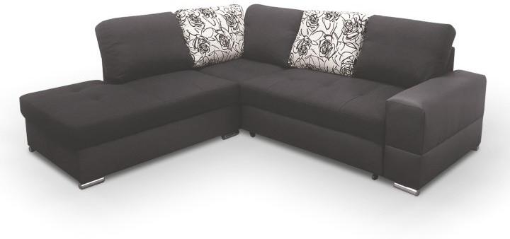 Rohová sedacia súprava, rozklad/úložný priestor, Ľ, ekokoža čierna/šenil hugo čierny, MULAN