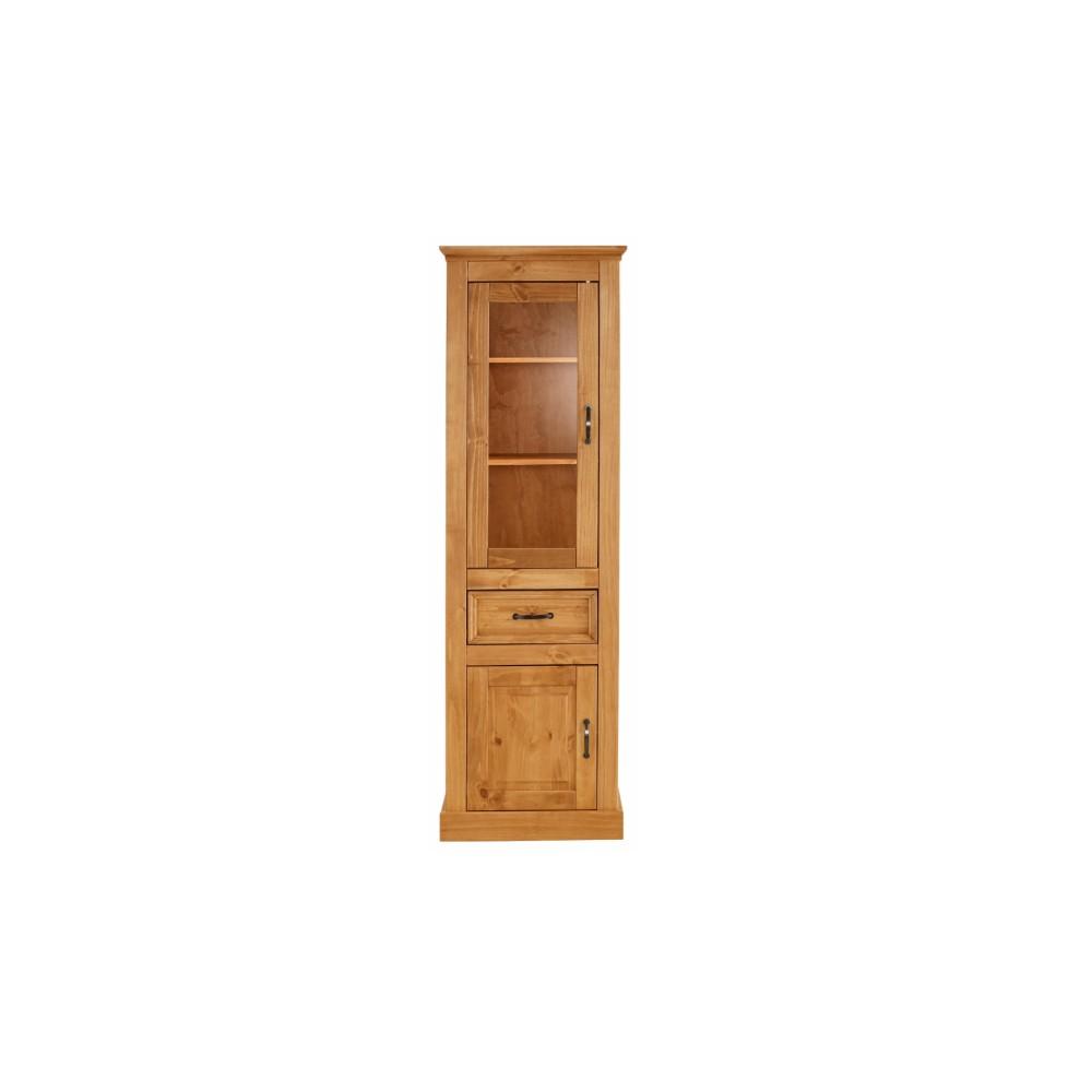 Hnedá úzka vitrína z masívneho borovicového dreva Støraa Suzie