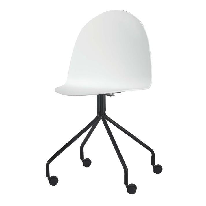 TEMPO KONDELA Stolička s kolieskami, plast + kov, biela + čierna, BRUNA