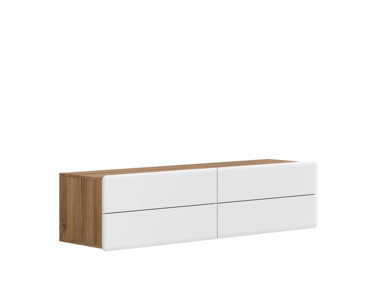 TV stolík/skrinka Possi Light RTV4S 4/16 (smrekovec sibiu zlatý + lesk biely)