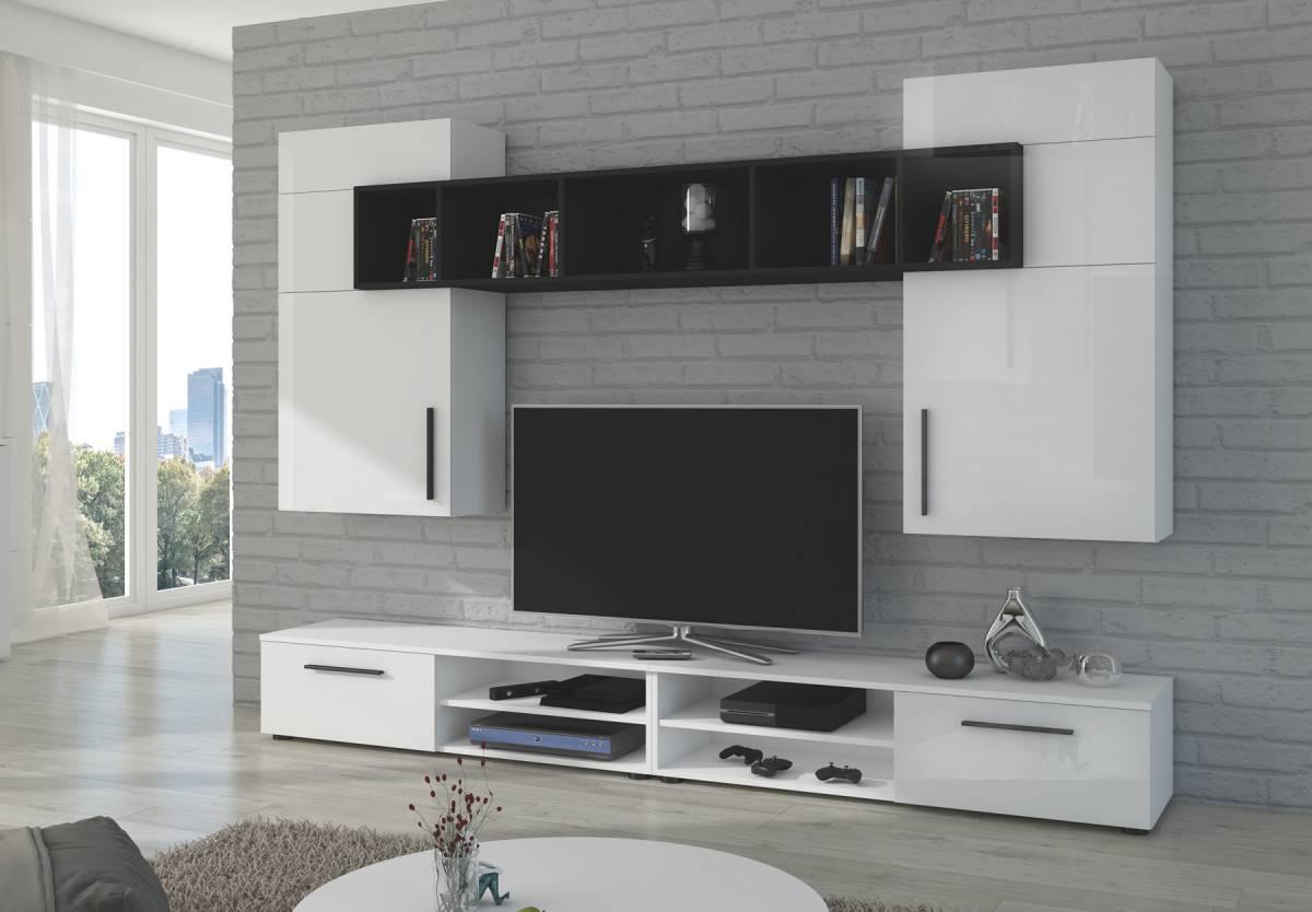 BELA obývacia stena, biely lesk/čierna