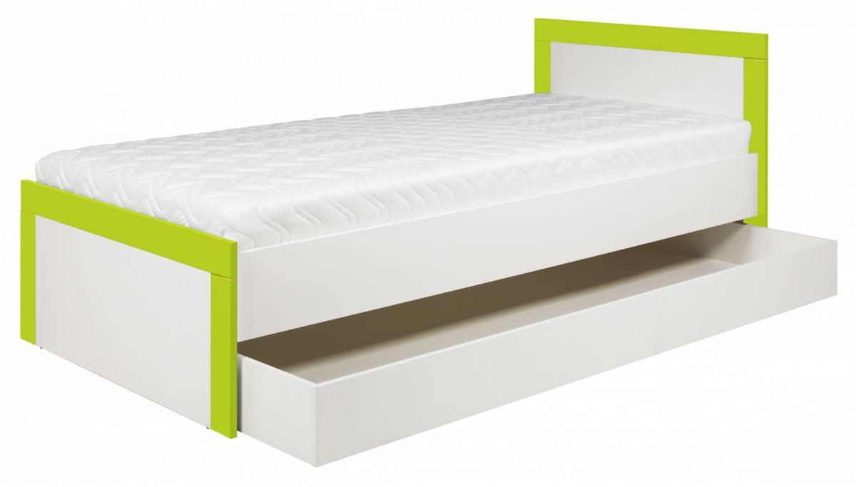 Jednolôžková posteľ 90 cm Twin TW 13 (akvamarín + biela matná)