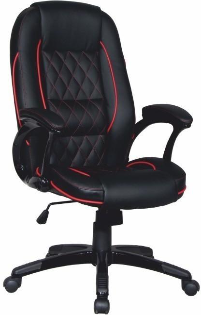 Kancelárska stolička, ekokoža čierna/červený lem, PORSHE
