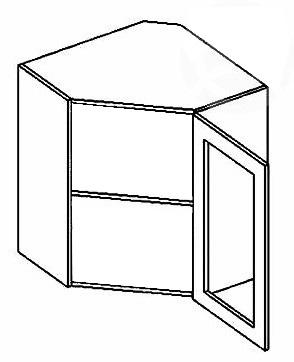 Horná rohová skrinka WR60WPL mrazené sklo LUCCY