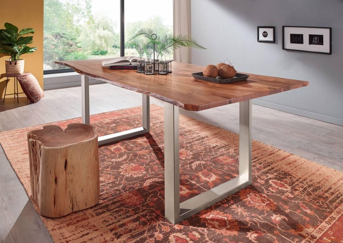 Bighome - METALL Jedálenský stôl so striebornými nohami 160x90, akácia, prírodná