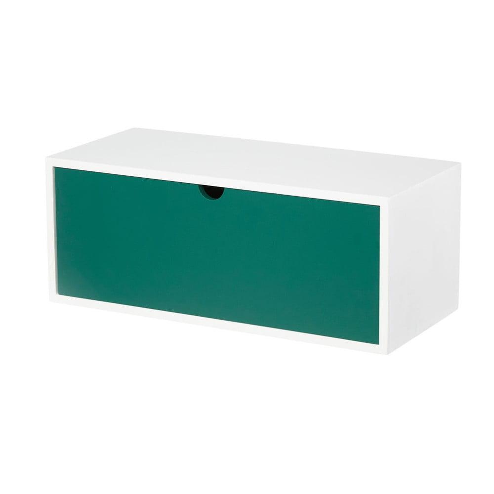 Bielo-zelený nástenný odkladací stolík so zásuvkou Furniteam Design
