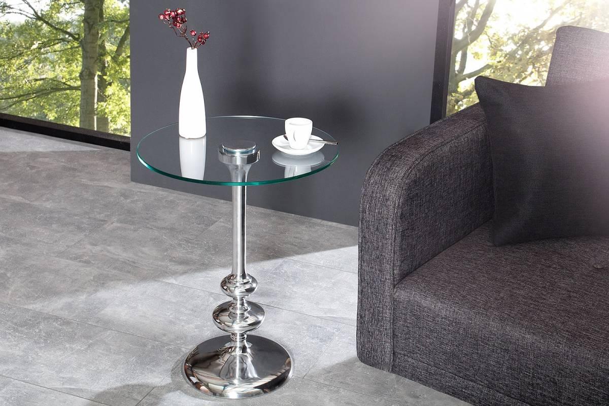 Bighome - Príručný stolík GRINGOT 45 cm - strieborná
