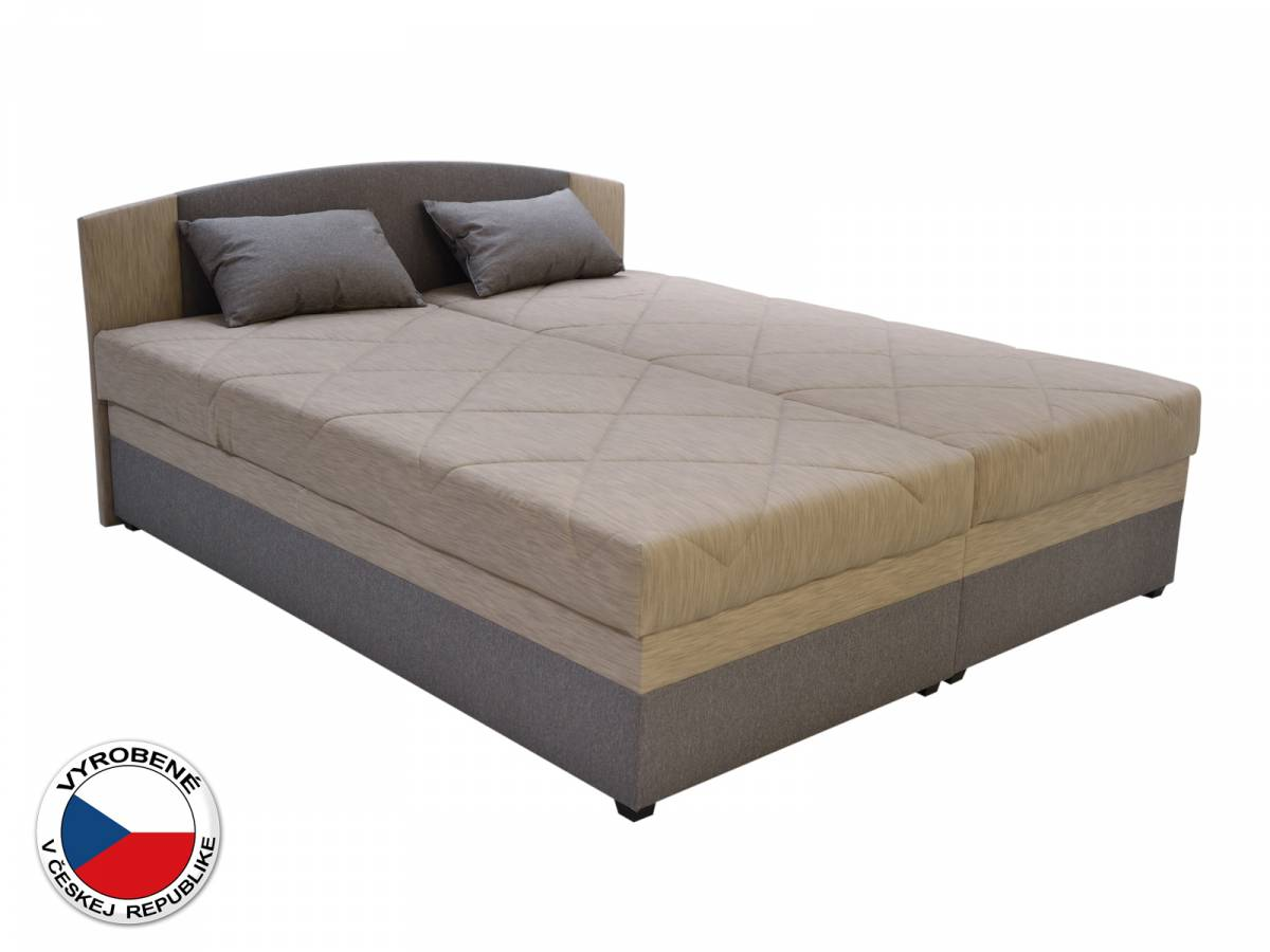 Manželská posteľ 180 cm Blanár Kappa (béžová + hnedá) (s roštom a matracom)