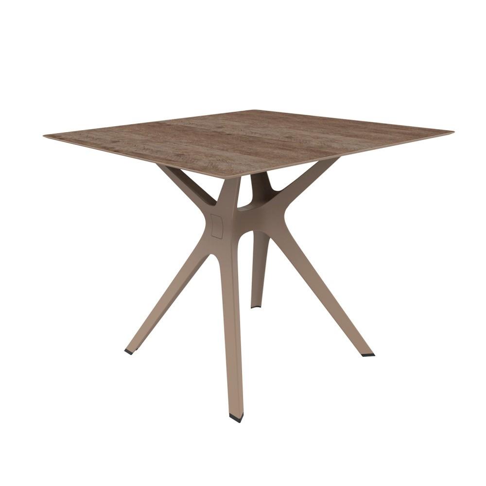 Hnedý jedálenský stôl vhodný do exteriéru Resol Vela, 90 x 90 cm