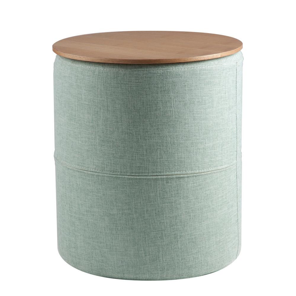 Svetlomodrý odkladací stolík sdoskou vdekore dubového dreva sømcasa Leo