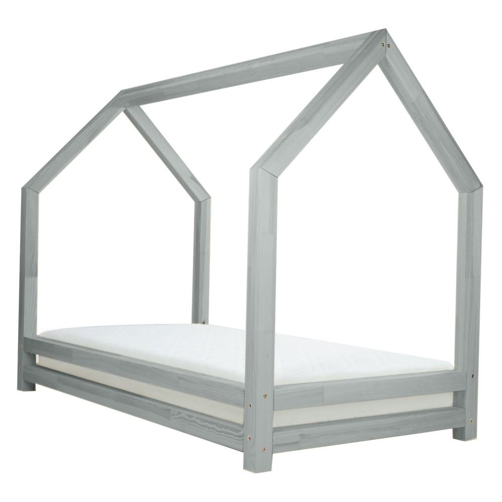 Sivá detská posteľ z lakovaného smrekového dreva Benlemi Funny, 90 × 200 cm