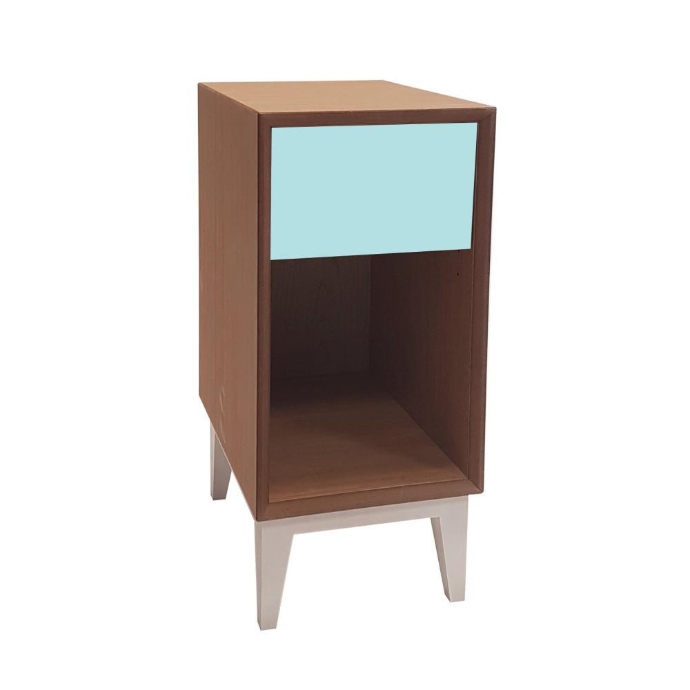 Malý nočný stolík so svetlotyrkysovou zásuvkou Ragaba PIX