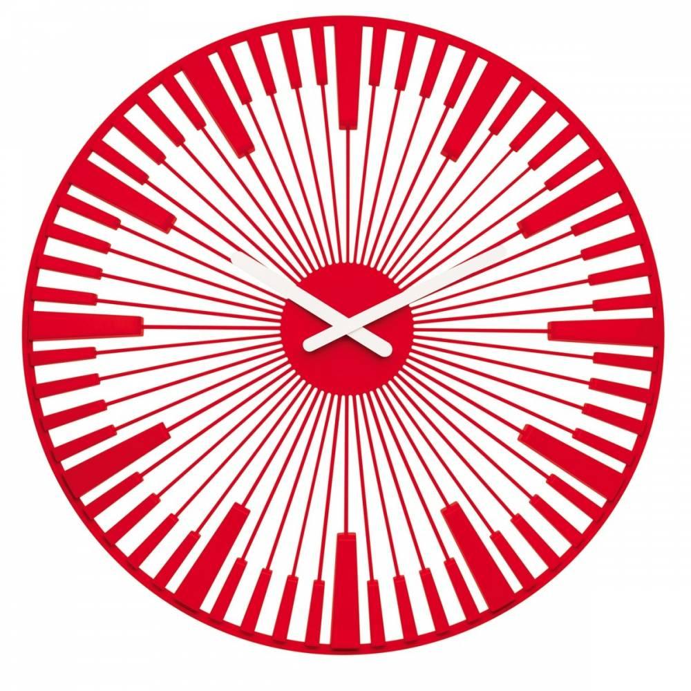 Koziol Nástenné hodiny Piano červená, pr. 45 cm