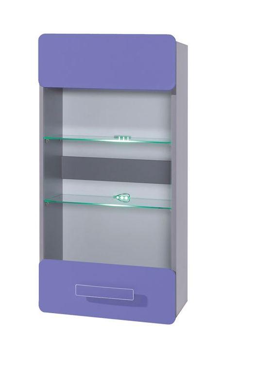 Závesná vitrína FIGARO, 105x50x32 cm, grafit/fialová, zelené LED
