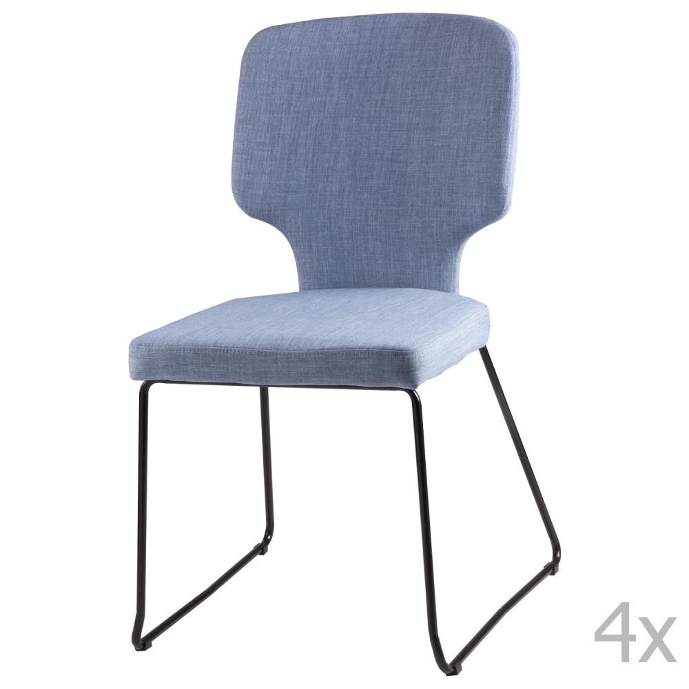Sada 4 svetlomodrých jedálenských stoličiek sømcasa Dana