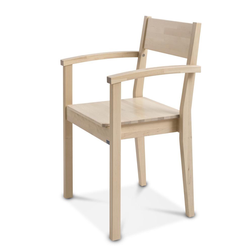 Ručne vyrobená stolička z masívneho brezového dreva s opierkami Kiteen Joki