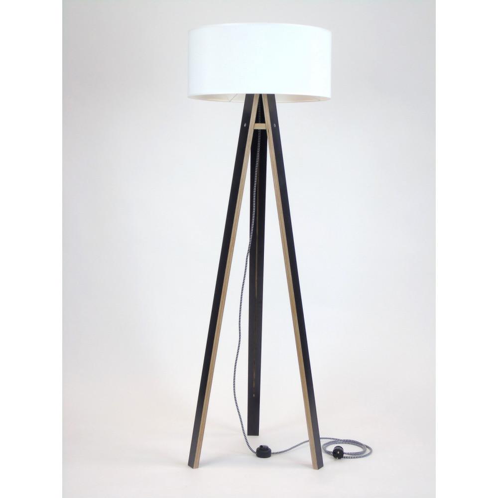 Čierna stojacia lampa s bielym tienidloma čierno-bielym káblom Ragaba Wanda