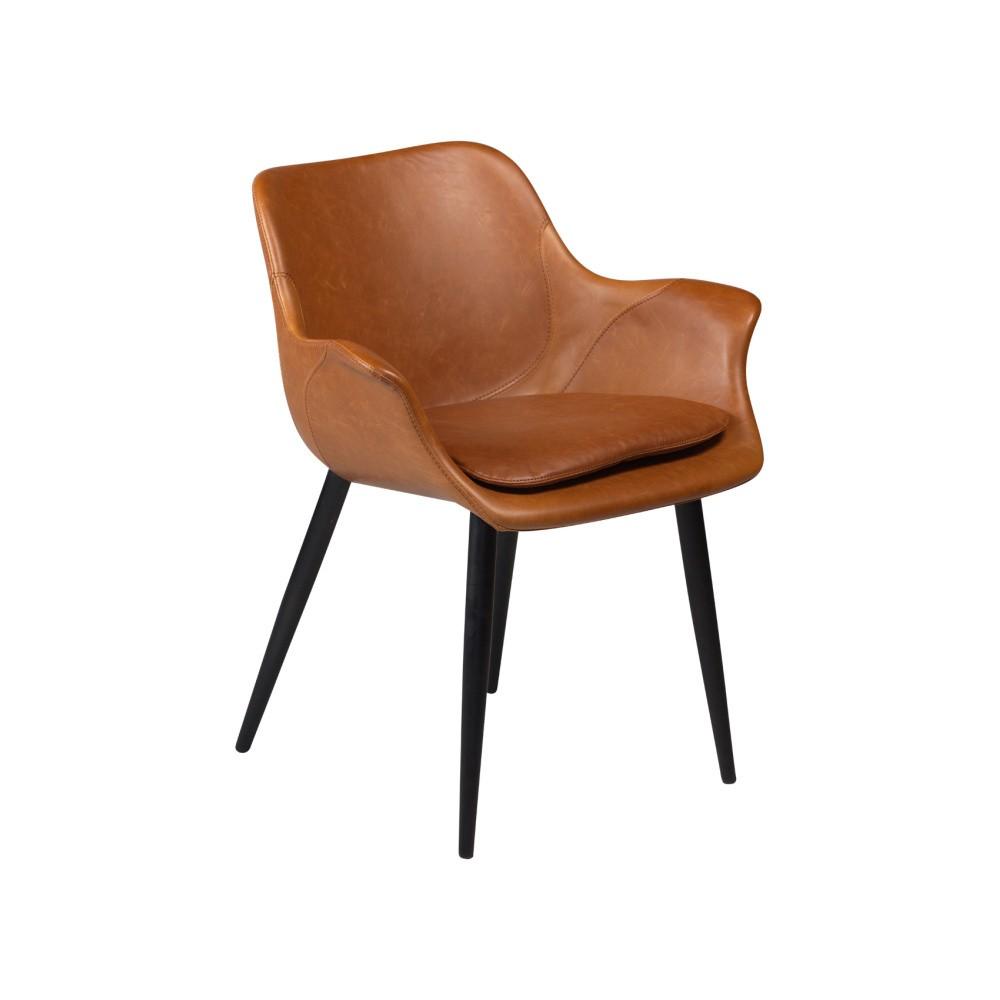 Hnedá jedálenská stolička s opierkami na ruky DAN–FORM Combino