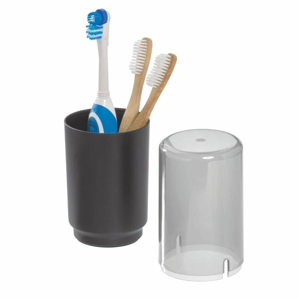 Čierny pohárik na zubné kefky s poklopom iDesign Austin
