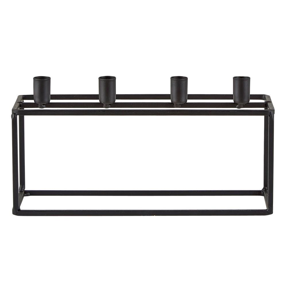 Čierny svietnik na 4 svíčky KJ Collection Lines, 20 x 10,5 cm