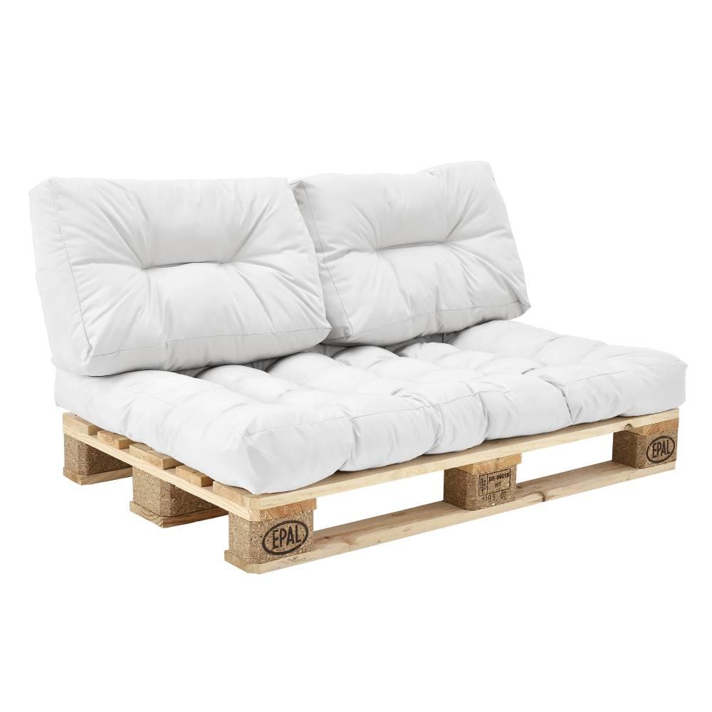 [en.casa]® Paletové vankúše - Madrace s vankúšmi pre paletový nabýtok(Vankúše na sedenie) biela
