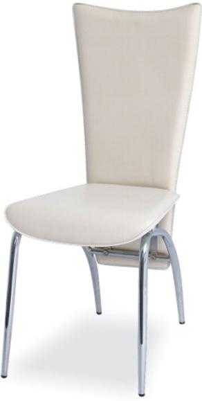 Stolička, chróm/ekokoža krémová, VANDA