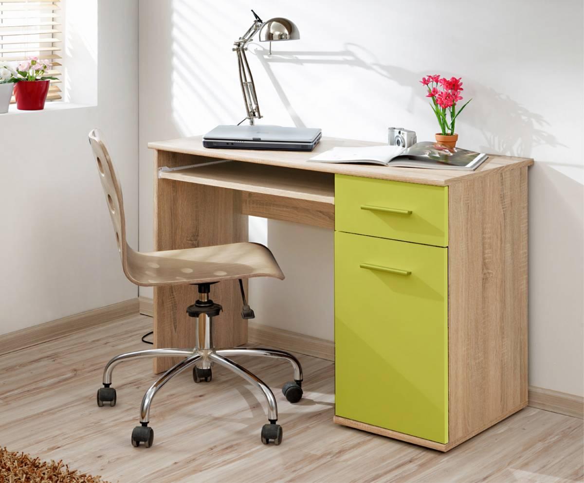 Pracovný stôl DOMINO II, jaseň/zelená