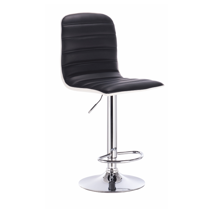 TEMPO KONDELA Barová stolička, čierna/biela/chrómovaná, GERIK