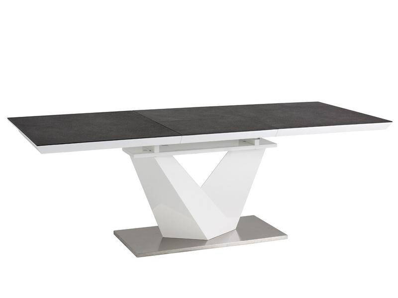 ALARIS jedálenský rozkladací stôl 160, sivá/biely lesk