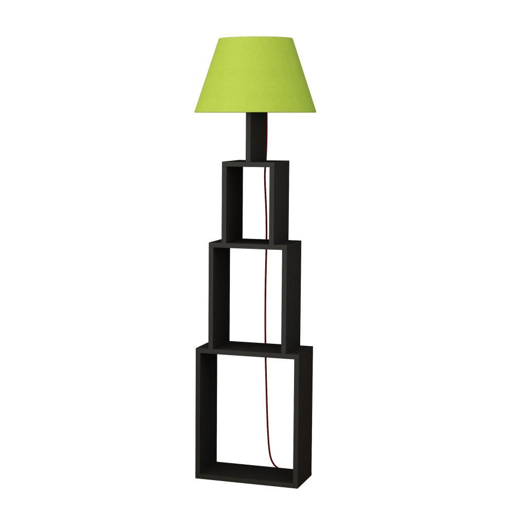 Antracitová voľne stojacia lampa so zeleným tienidlom Homitis Tower
