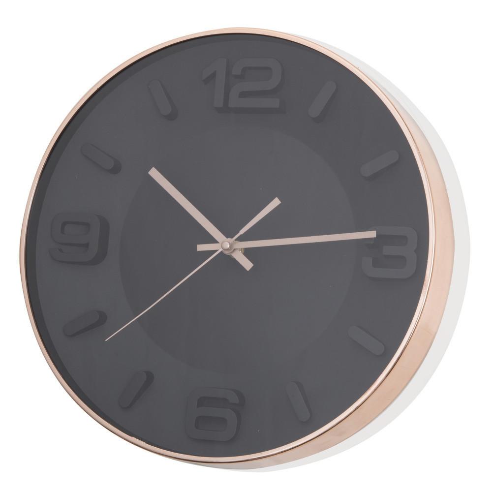 Čierne nástenné hodiny Brandani Rose Gold