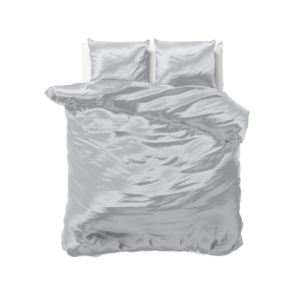 Sivé obliečky zo saténového mikroperkálu na dvojlôžko Sleeptime, 240 x 220 cm