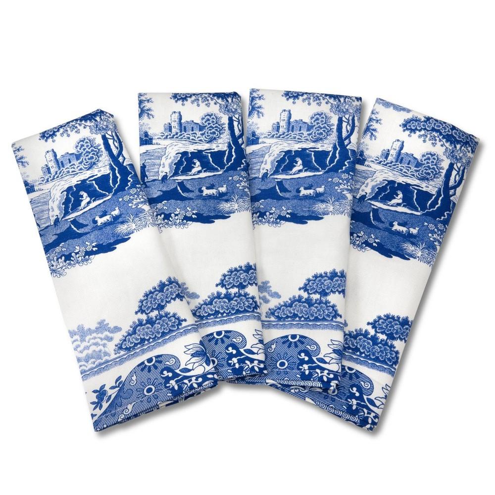 Sada 4 bielo-modrých bavlnených obrusov Spode Blue Italian