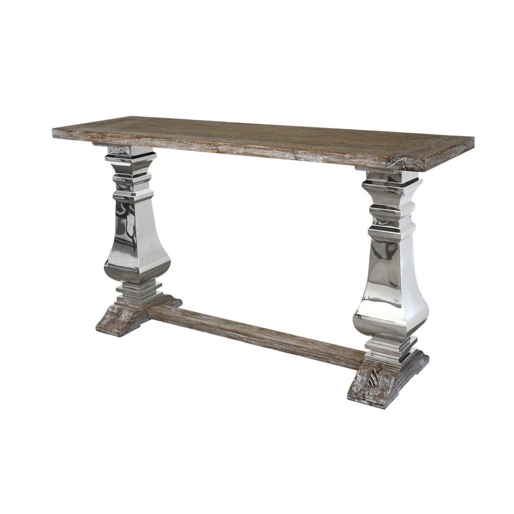 Konzolový stolík s doskou z recyklovaného dubového dreva Livin Hill Glamour