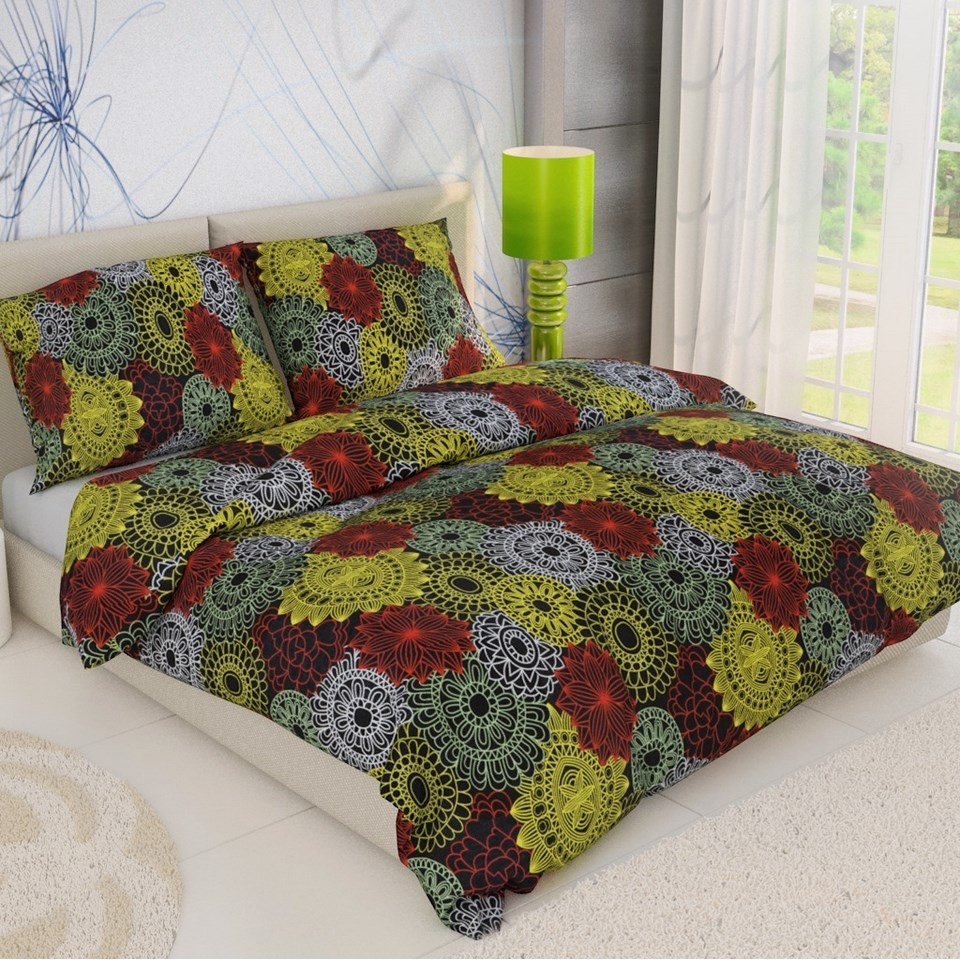 Kvalitex Bavlnené obliečky Kruhy mix, 140 x 200 cm, 70 x 90 cm