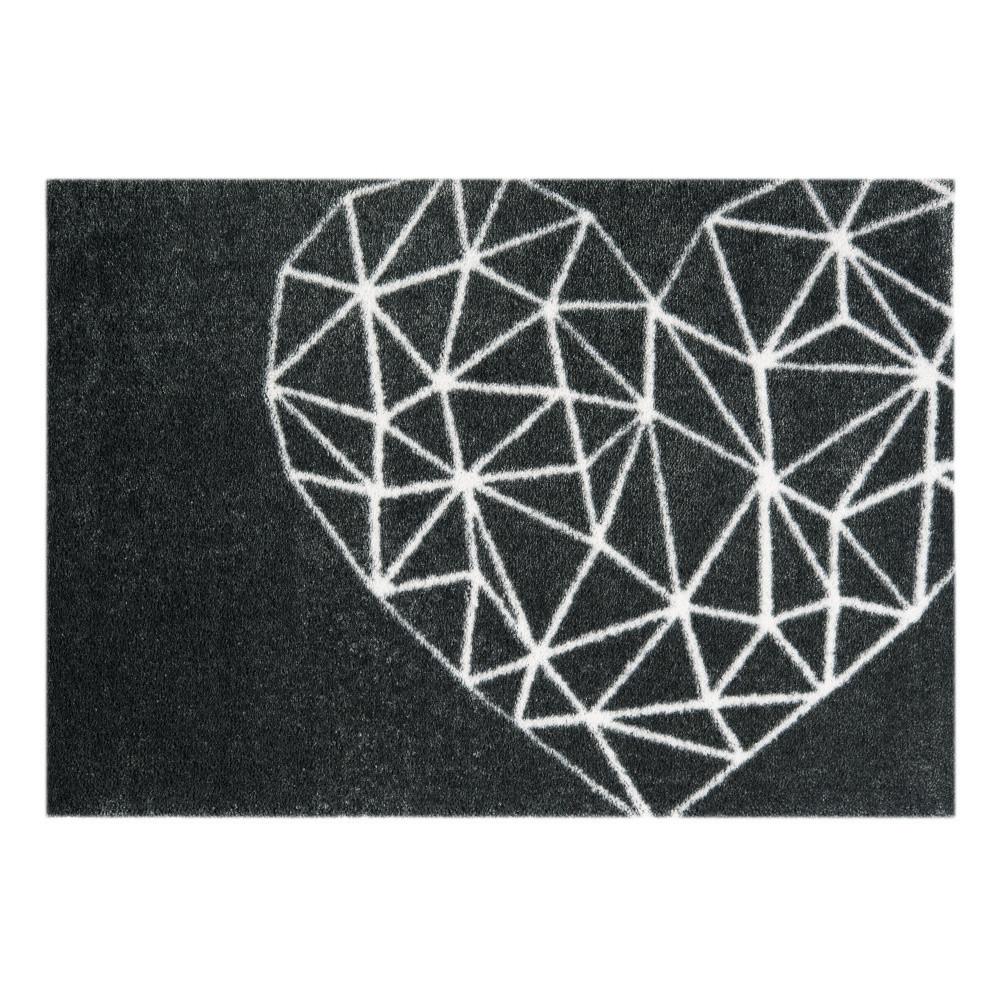 Čierny rohožka Mint Rugs  StateMat Heart, 50x75cm