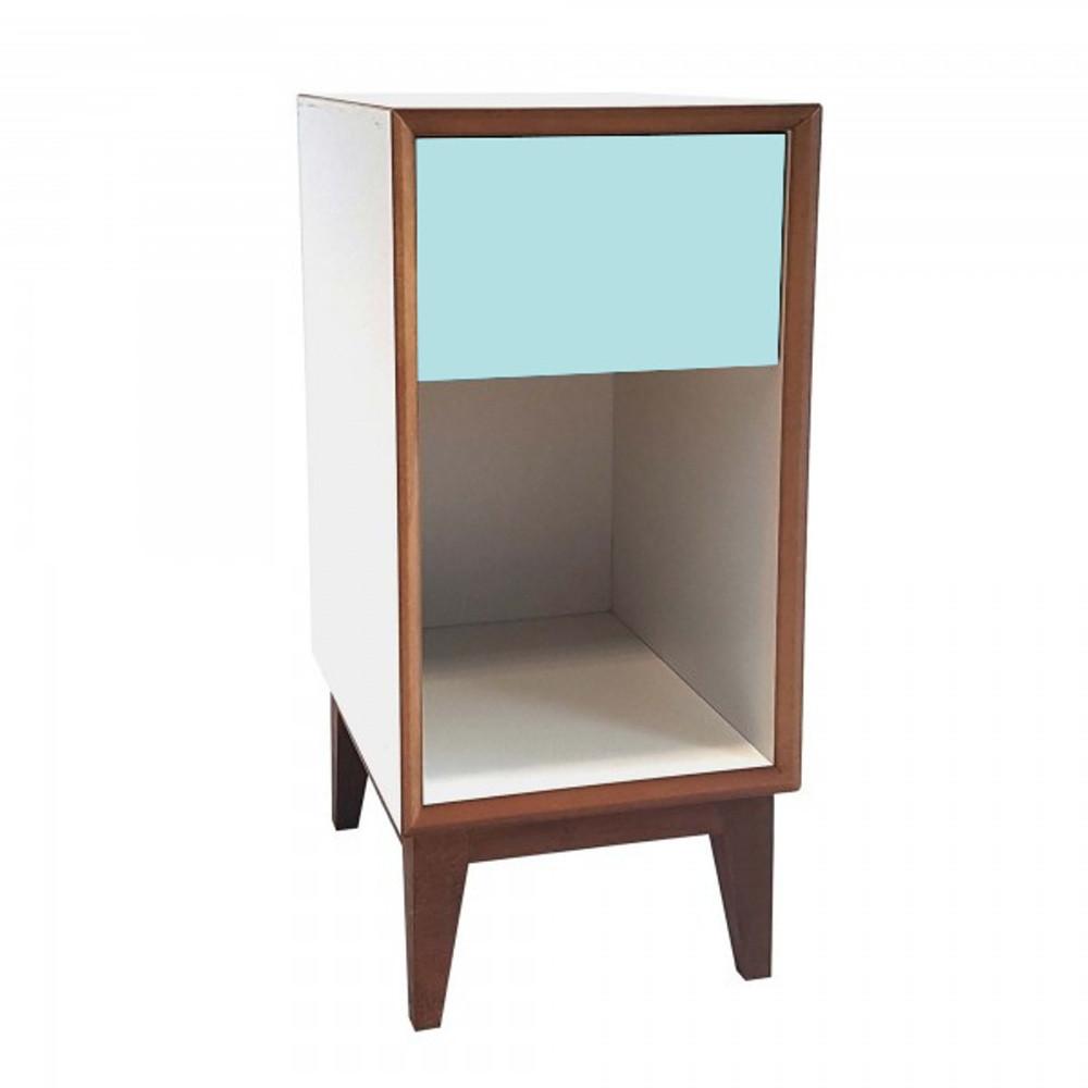 Malý nočný stolík s bielym rámoma svetlotyrkysovou zásuvkou Ragaba PIX