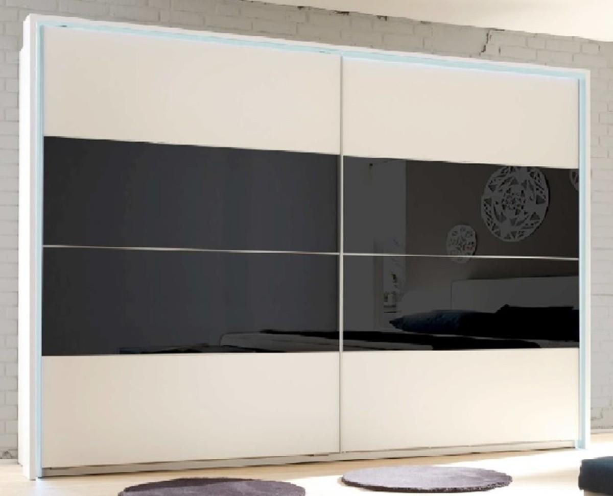 Skriňa s posuvnými dverami, biely/čierne sklo NARINA NEW |KUMAXnabytok.sk