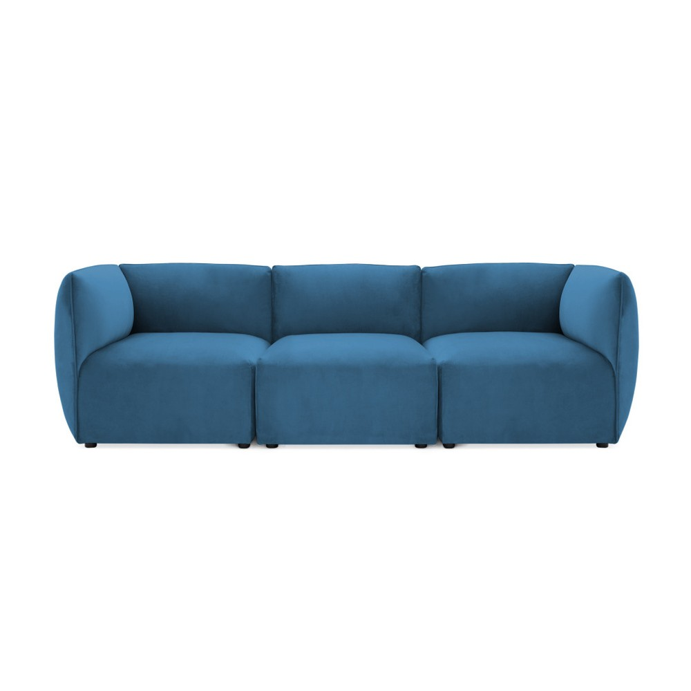 Modrá trojmiestna modulová pohovka Vivonita Velvet Cube
