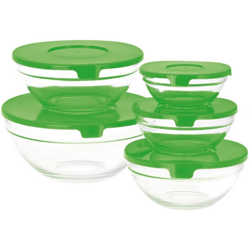 Koopman 5-dielna sada sklenených misiek s viečkom, zelená