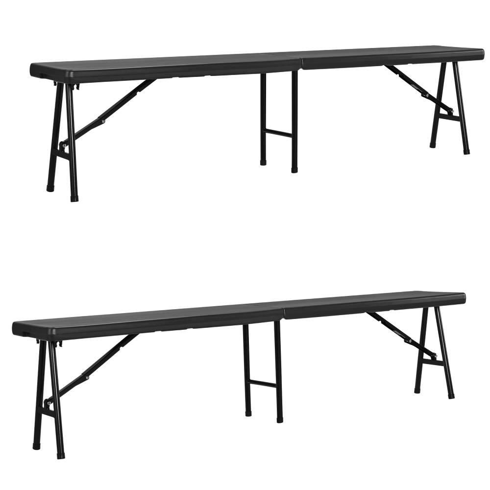 [casa.pro]® Plastová záhradná lavica - 183 x 30 cm - tmavošedá