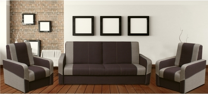 Sedacia súprava 3+1+1, rozkladacia s úložným priestorom, čokoládová/svetlo hnedá, HUGOR