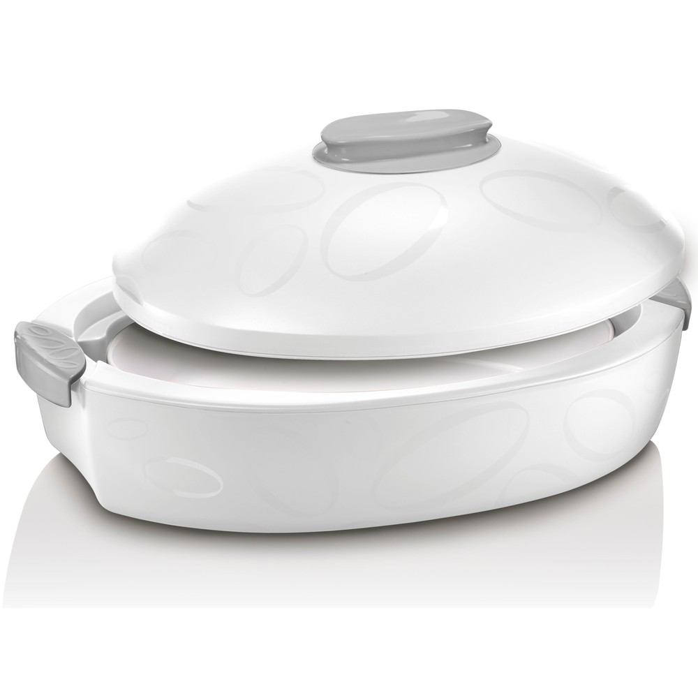Biely oválný termo box so zapekacou misou Enjoy Gourmet, 3 l