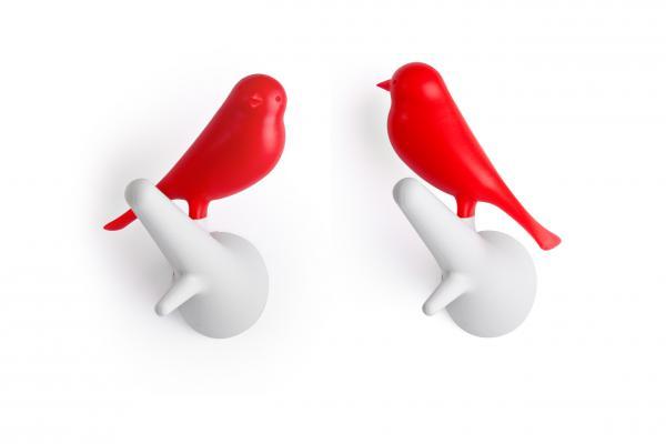 Nástenný vešiak Qualy Hook Sparrow, 2ks, biely-červený