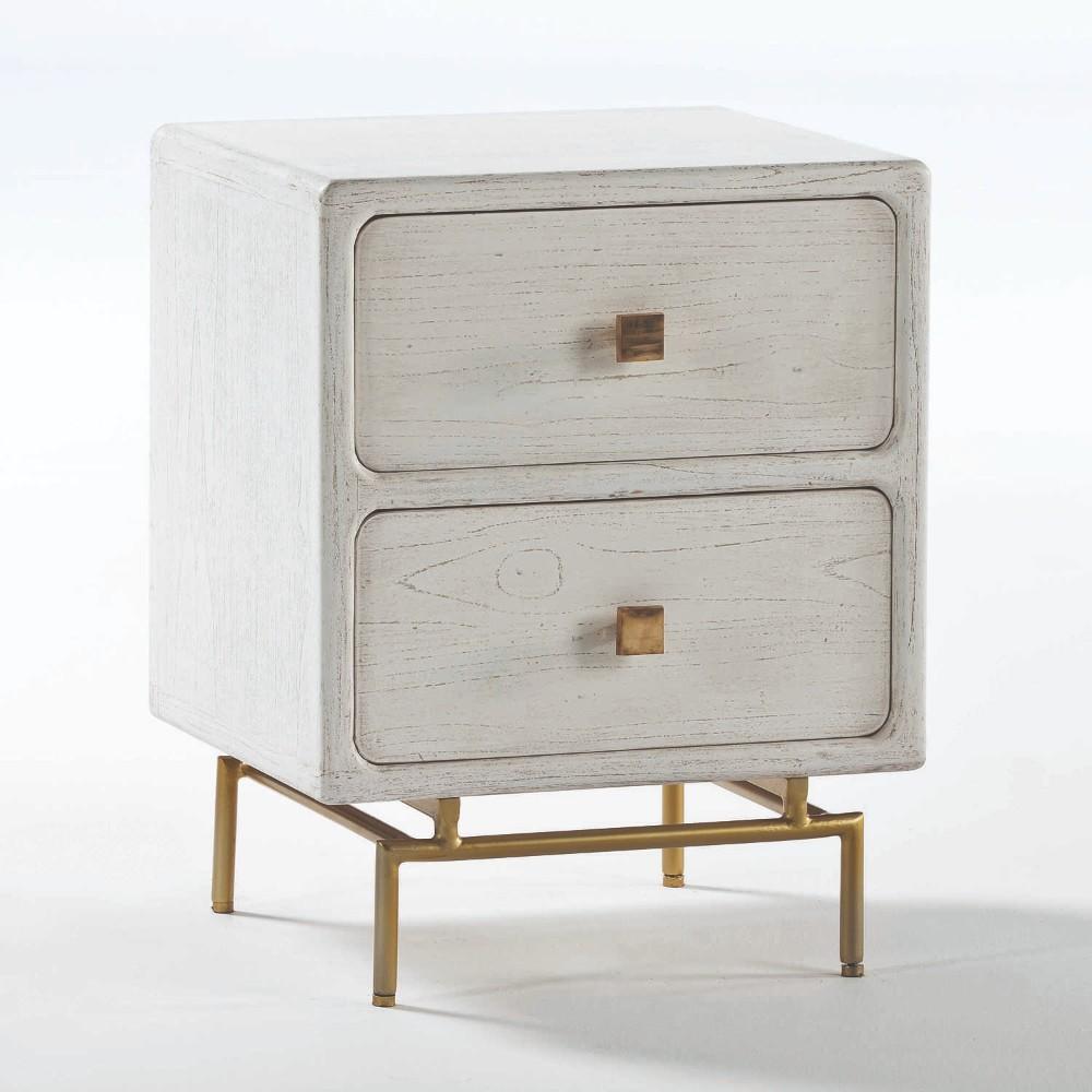 Biely nočný stolík s dvomi zásuvkami Thai Natura