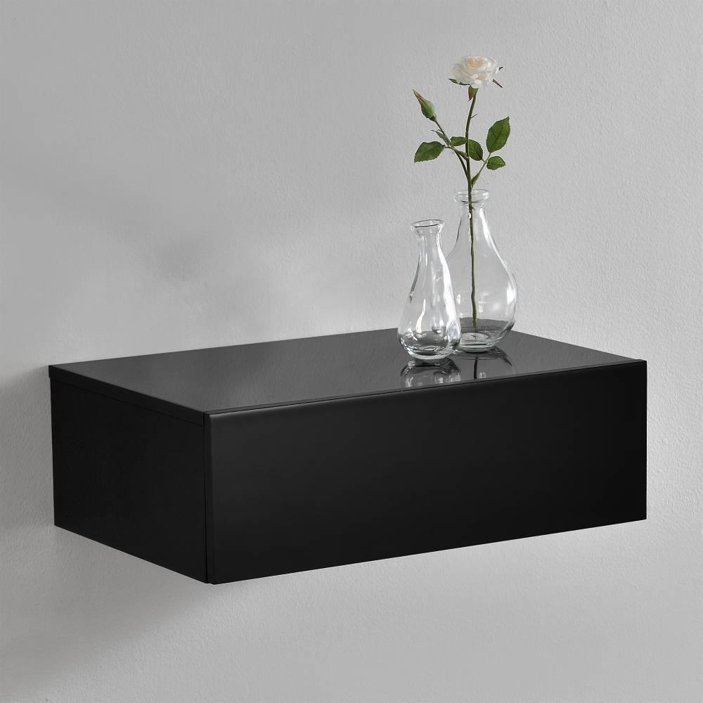 [en.casa]® Nočný stolík na stenu - 46 x 30 x 15 cm - čierny s vysokým leskom