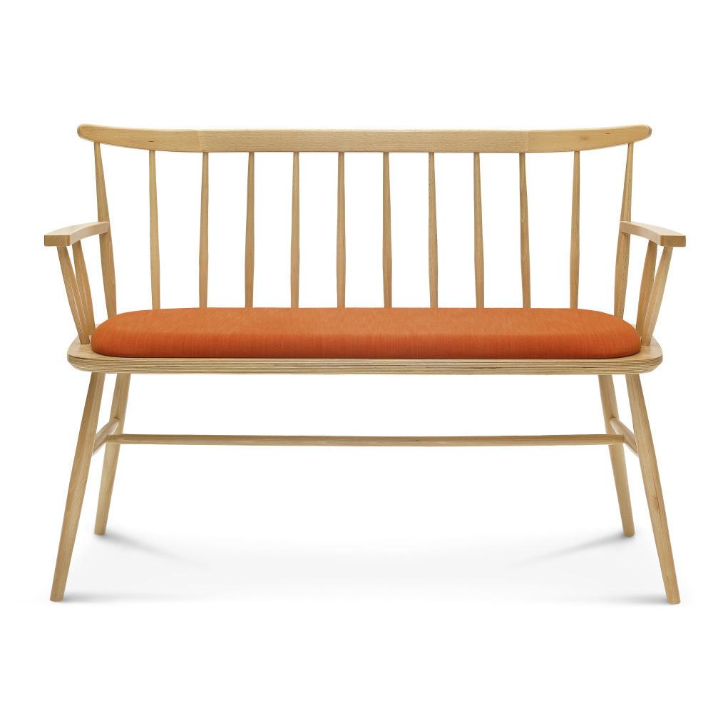 Drevená lavica s oranžovým čalúnením Fameg Loveseat