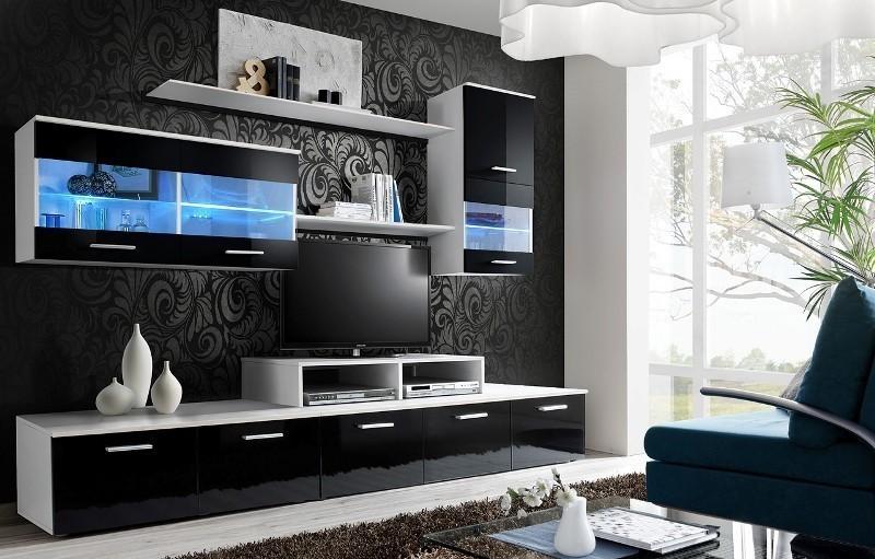 ASM LOGO II WZ obývacia stena - biela / čierny vysoký lesk
