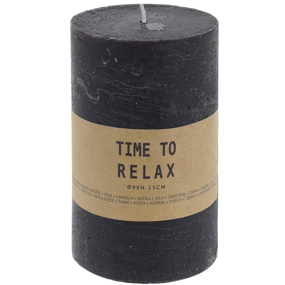 Dekoratívna sviečka Time to relax čierna, 15 cm